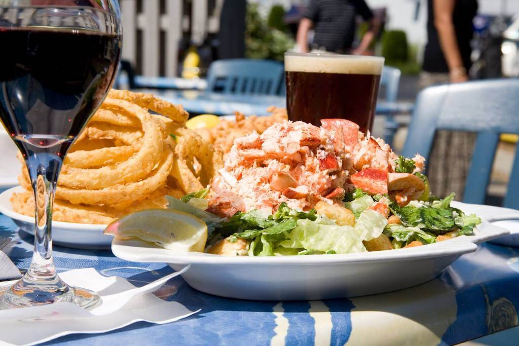 seafood plate with beer and wine restaurants in Cape Cod