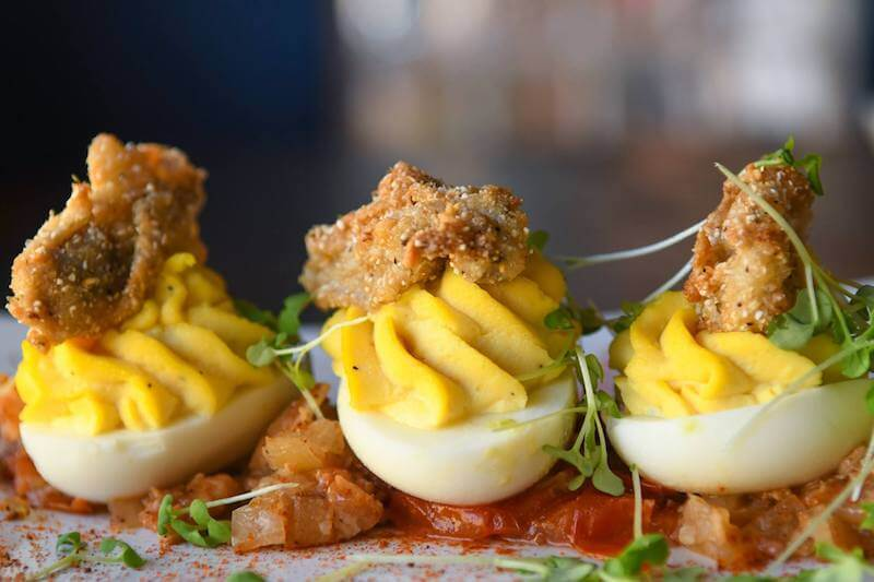 deviled eggs with fried oysters St Augustine seafood