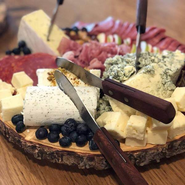 plate of fruit and cheese