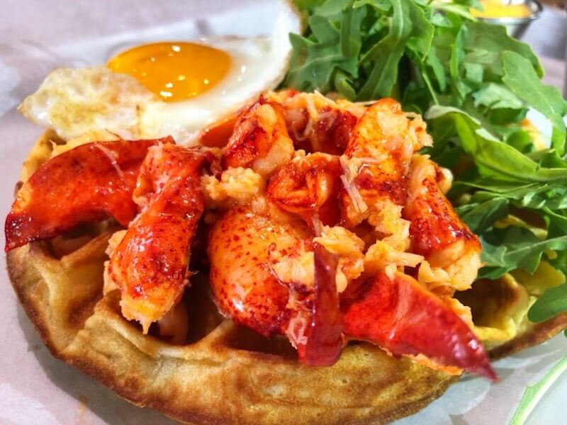 lobster waffle with fried egg