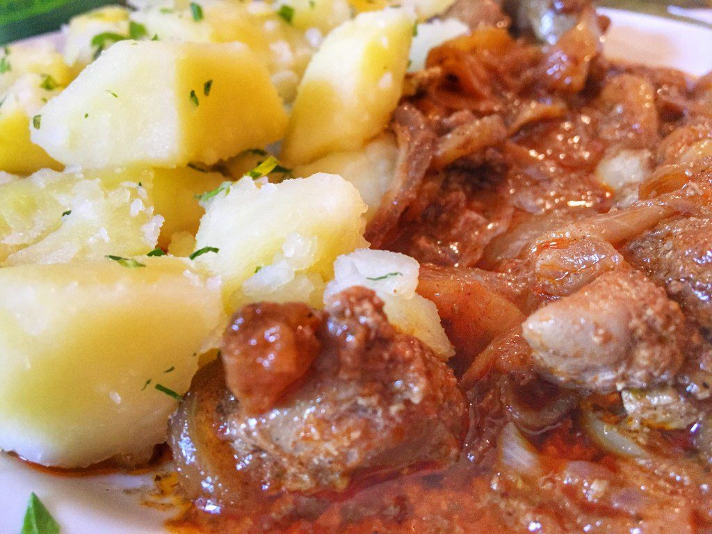 Stewed Chicken Livers & Herbed Potatoes - Click to see the tour - Join Taste Hungary for their Buda Food Walk to learn more about the interesting history of the city and try the unique food.