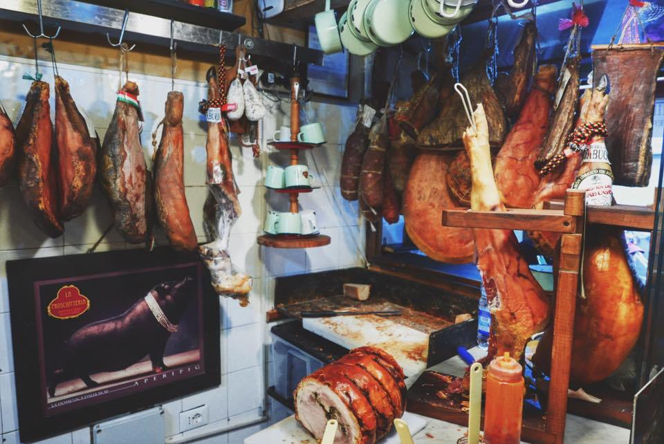 hanging meats at La Prosciutteria - How to experience Florence, Italy in 24 hours.
