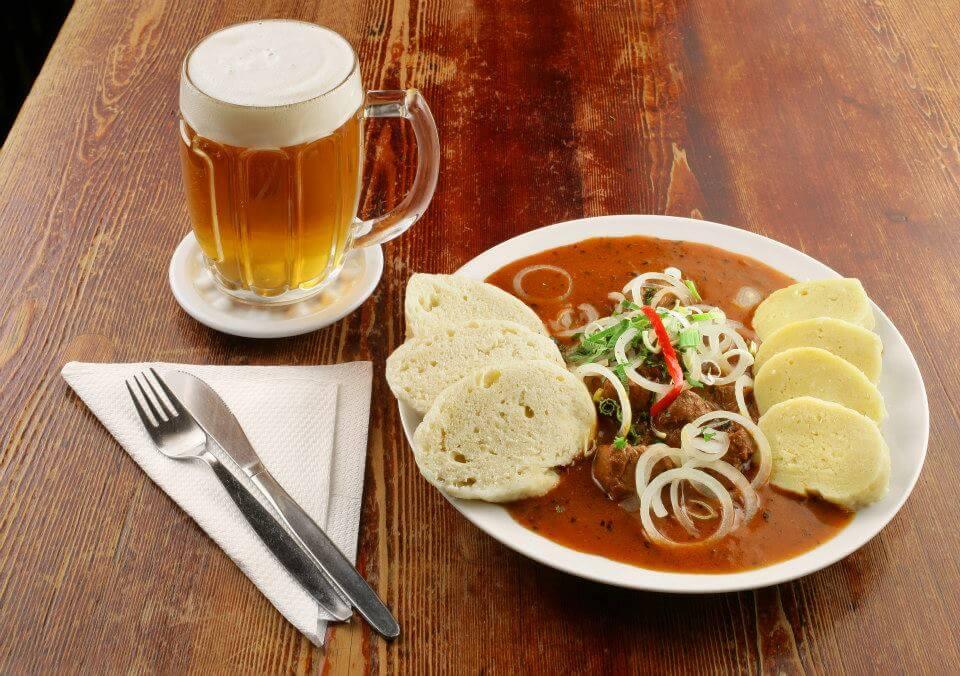 goulash with bread dumplings and beer Best Cesky Krumlov restaurants