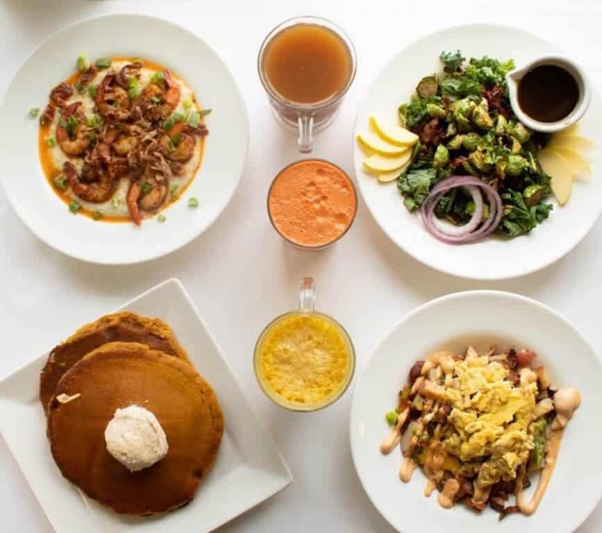 table of food top Holland MI restaurants