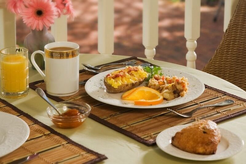 breakfast plate with coffee and orange juice