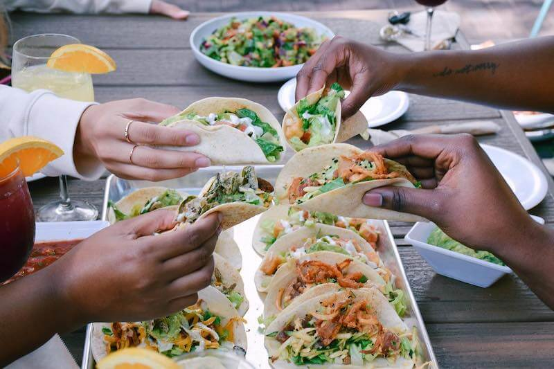 table full of tacos