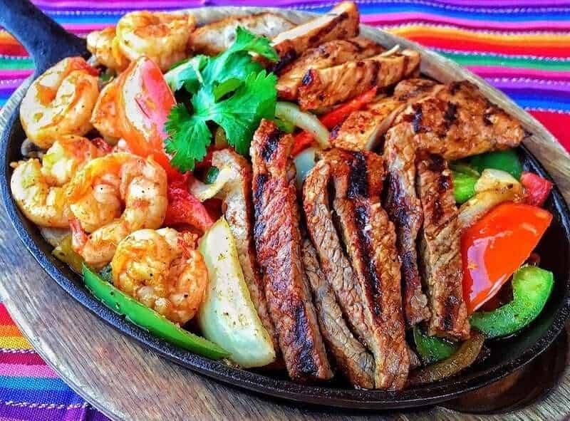 steak chicken and shrimp fajitas
