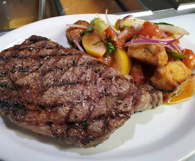 steak and summer vegetable salad