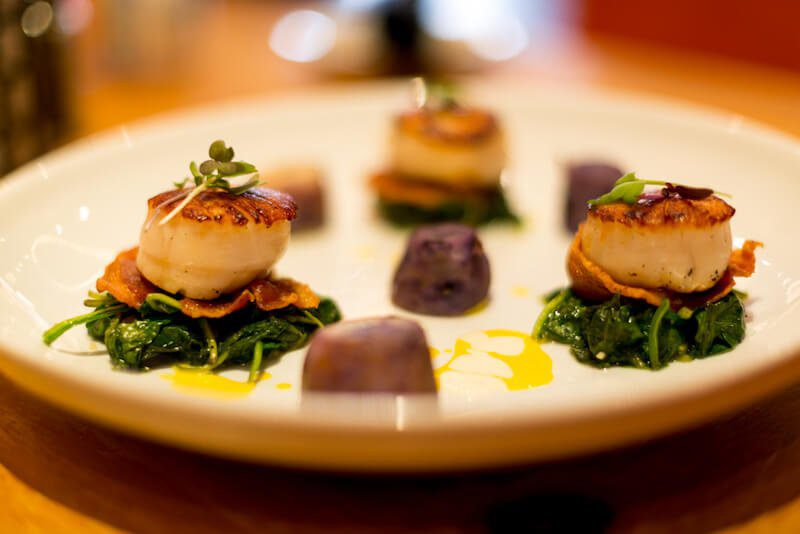 scallops plated for fine dining