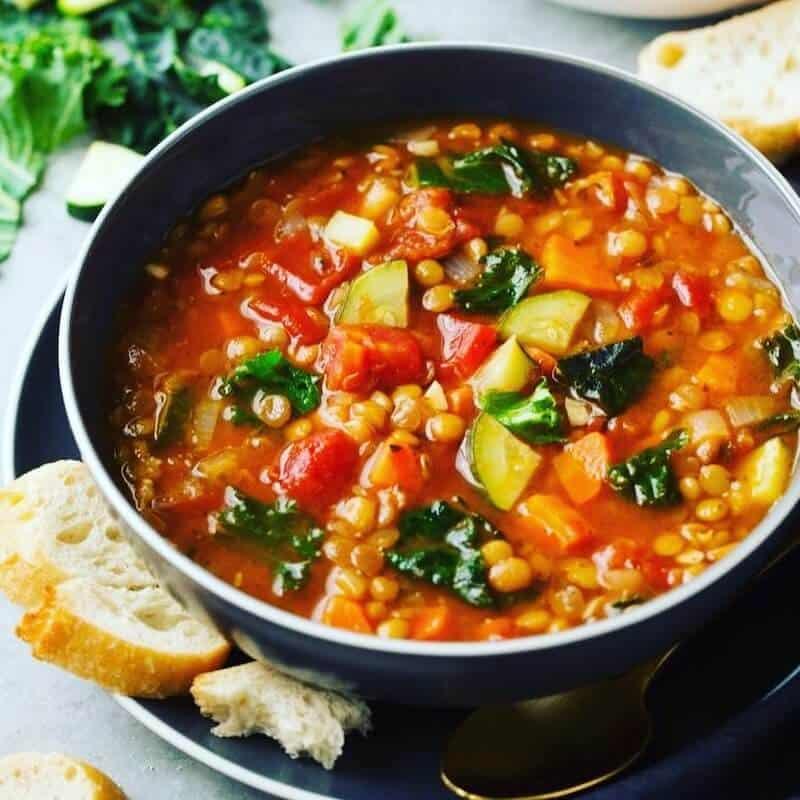 bowl of vegetable lentil soup