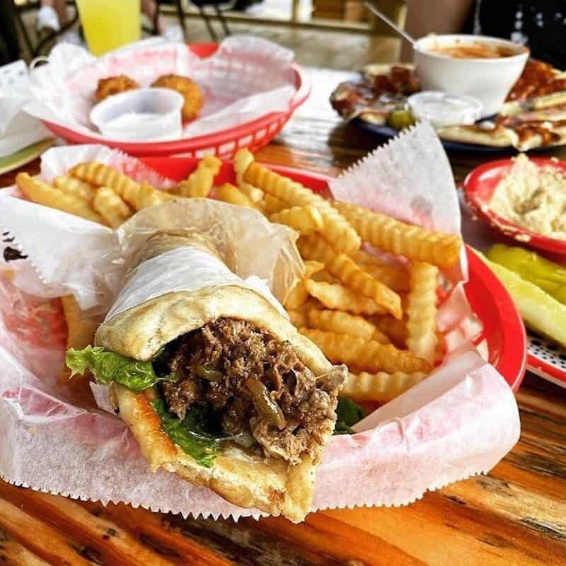 Greek souvlaki and fries