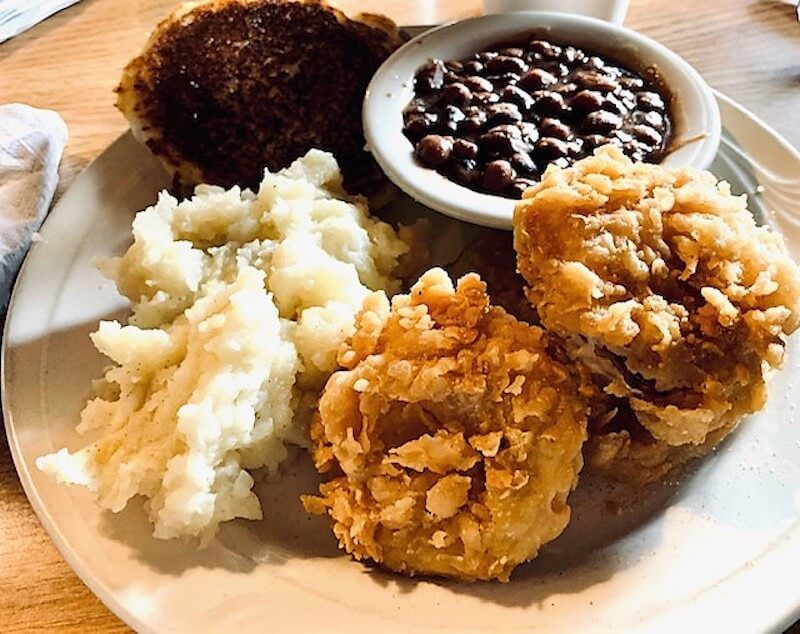fried chicken mashed potatoes and baked beans