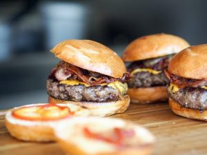 trio of bacon burgers