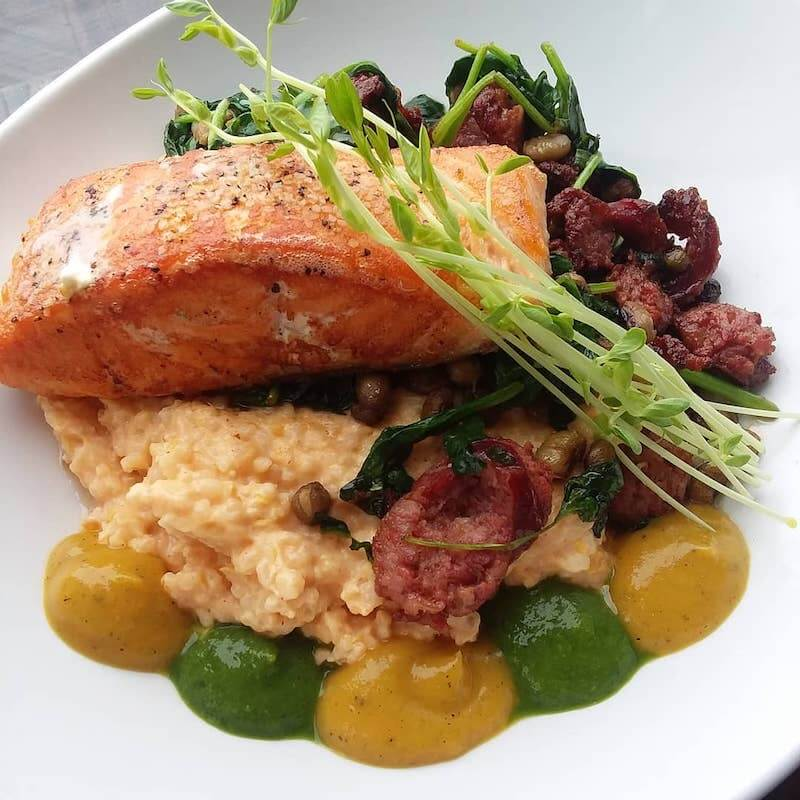 grilled salmon over grits