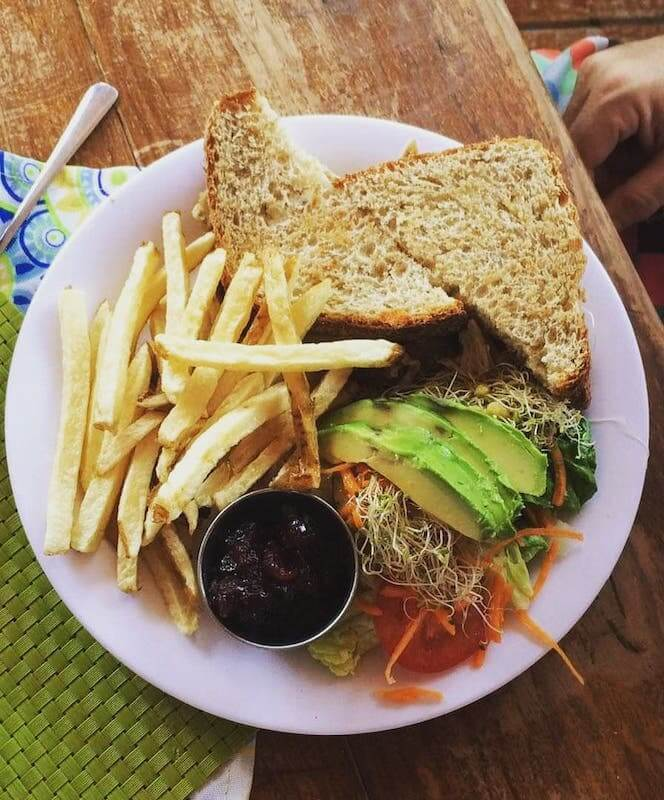 sandwich with fries and salad