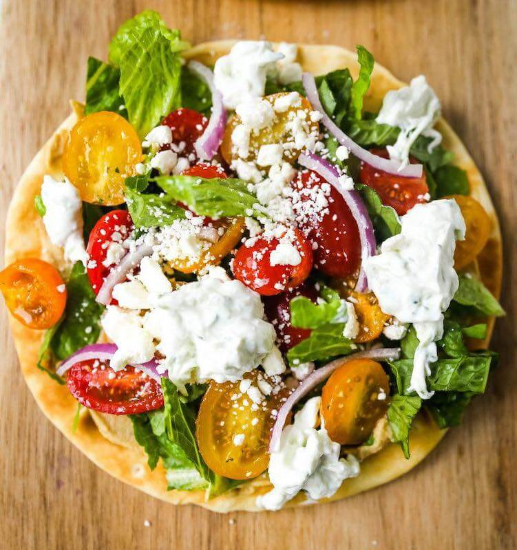 pita covered in salad