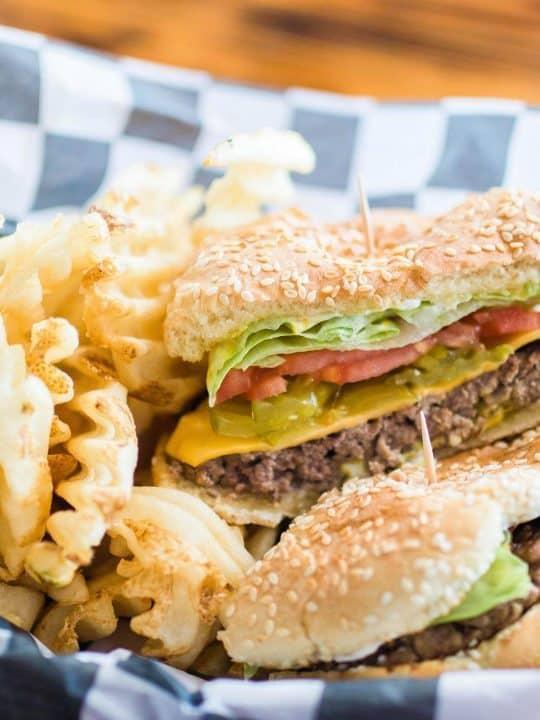 hamburger and waffle fries