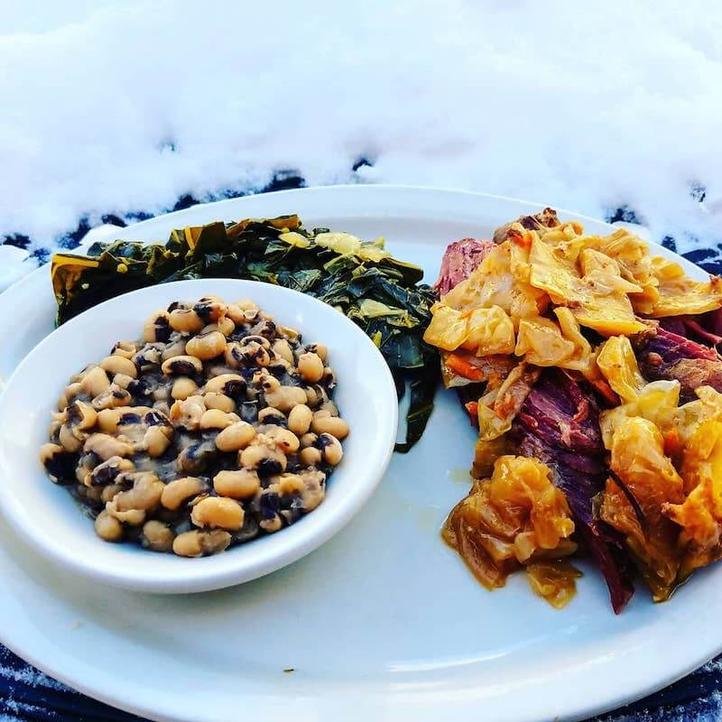black eyed peas and greens