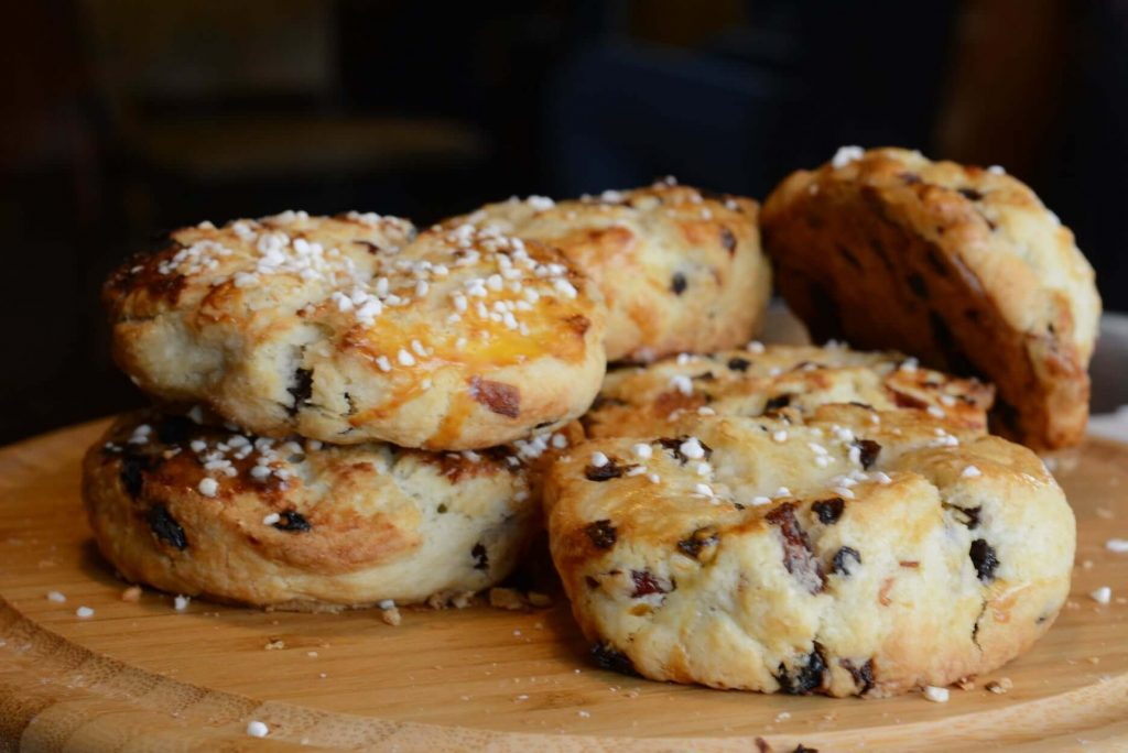 table piled with scones