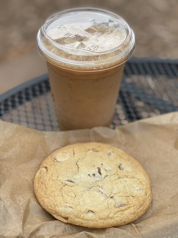 chocolate chip cookie and iced coffee