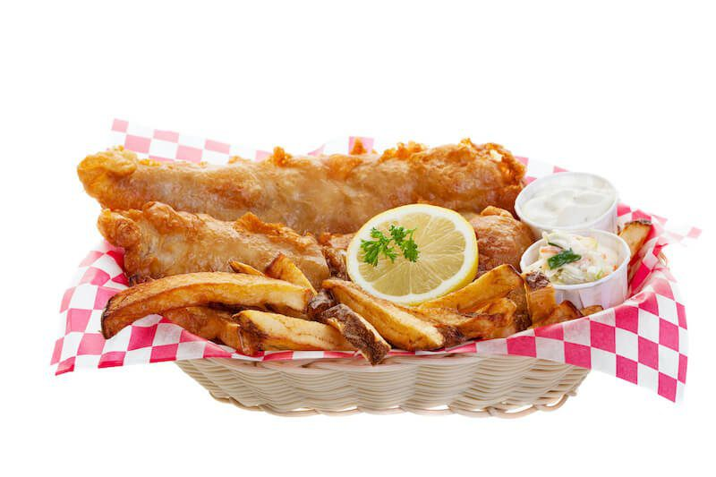 fish and chips with tartar sauce and lemon