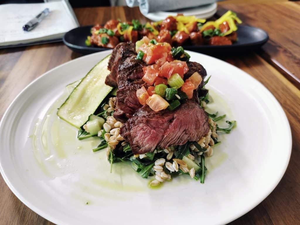 8 Must-Try Danville Restaurants: Grilled Flat Iron Steak with Tomato-Scallion Relish