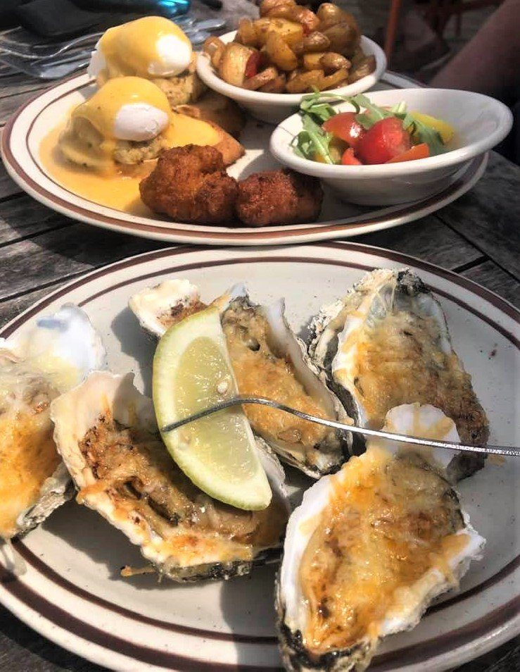 The Best Hilton Head Restaurants: Chargilled Oysters & Maryland Crab Cake Benedict