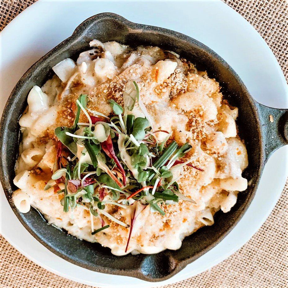 Roasted Pumpkin Mac N Cheese with Duck Confit and Orange Gremolata