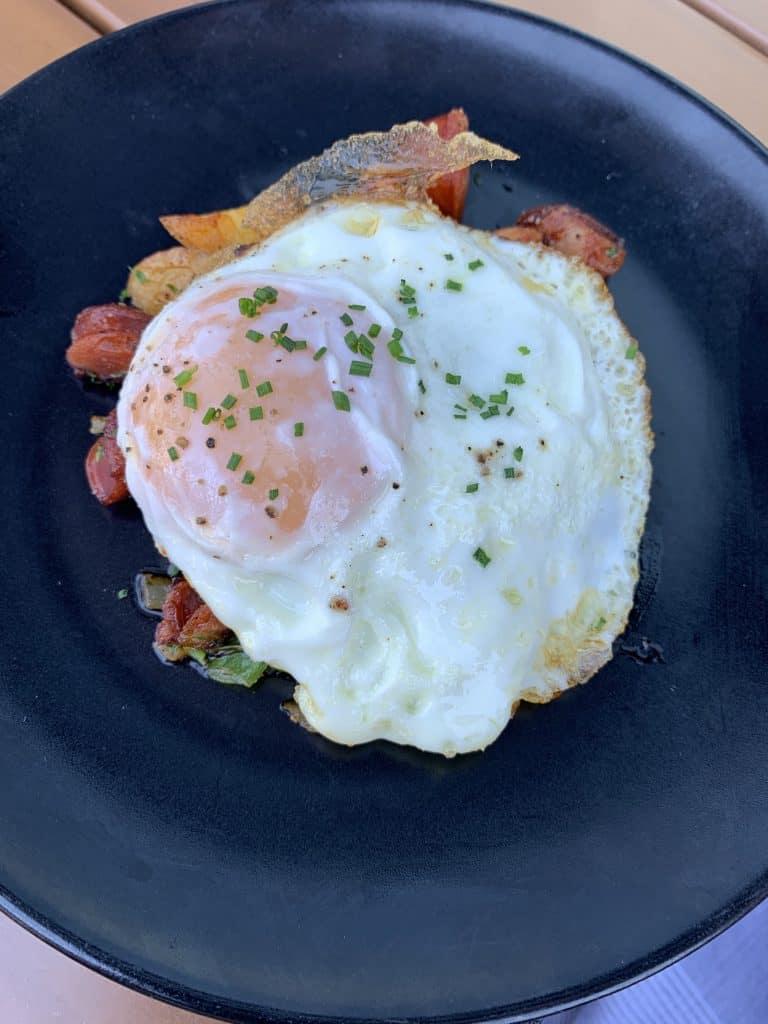 7 Must-Try D.C. Navy Yard Restaurants:   Sunnyside Egg with Chorizo & Potato Hash