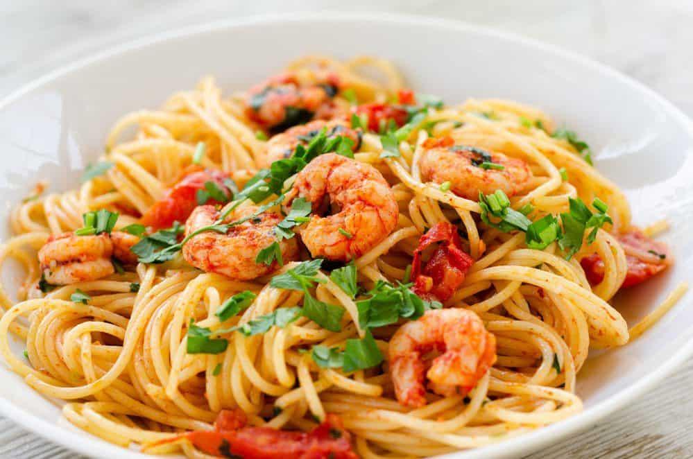 15 Must-Try Sanibel Island Restaurants: Pasta with Shrimps